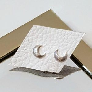 Petite Silver Moon Studs